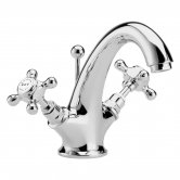 Bayswater Crosshead Hex Mono Basin Mixer Tap with Waste - White/Chrome