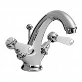 Bayswater Lever Dome Mono Basin Mixer Tap with Waste - White/Chrome