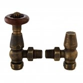 Bayswater Rounded Angled Thermostatic Radiator Valves Pair and Lockshield Antique Brass
