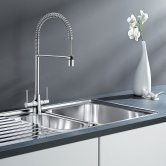 Blanco Archpro Coil Pull-Out Kitchen Sink Mixer Tap - Galvanic Chrome