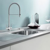 Blanco Archpro Steel Pull-Out Kitchen Sink Mixer Tap - Galvanic Chrome