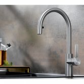 Blanco Candor Monobloc Kitchen Sink Mixer Tap Pull-Out Tap Head - Solid Brushed Stainless Steel