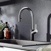 Blanco Carena-S Vario Monobloc Pull-Out Kitchen Sink Mixer Tap - Rock Grey / Chrome