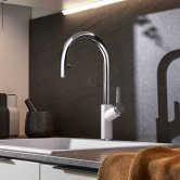 Blanco Carena-S Vario Monobloc Pull-Out Kitchen Sink Mixer Tap - White / Chrome