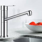Blanco Fleet Monobloc Kitchen Sink Mixer Tap - Galvanic Chrome