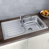 Blanco Flex Pro 45 S 1.0 Bowl Inset Kitchen Sink with Waste and Reversible Drainer 860mm L x 480mm W