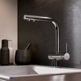 Blanco Drink.Filter Fontas II Monobloc Kitchen Sink Mixer Tap Dual lever Handle with Filter Function - Galvanic Chrome
