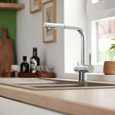 Blanco Drink.Filter Fontas-S II Monobloc Pull-Out Kitchen Sink Mixer Tap with Filter Function - Galvanic Chrome