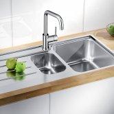 Blanco Herald Eco Flow Monobloc Kitchen Sink Mixer Tap - Galvanic Chrome