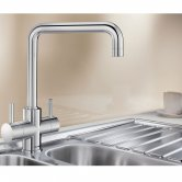 Blanco Jamia Monobloc Kitchen Sink Mixer Tap Dual Lever Handle - Galvanic Chrome