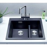 Blanco Juper Kitchen Sink Mixer Tap Dual Lever Handle - Galvanic Chrome