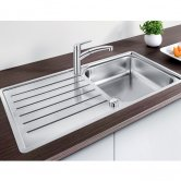 Blanco Lantos XL 6 S-IF 1.0 Bowl Inset Kitchen Sink with Waste and Reversible Drainer 1000mm L x 500mm W