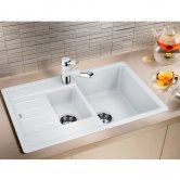 Blanco Legra 6 S Compact 1.5 Bowl Inset Kitchen Sink with Waste and Reversible Drainer 780mm L x 500mm W - White