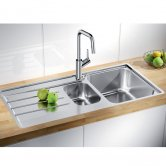 Blanco Lemis 6 S-IF 1.5 Bowl Inset Kitchen Sink with Waste and Reversible Drainer 1000mm L x 500mm W