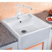 Blanco Panor 60 1.0 Bowl Inset Kitchen Sink with Waste 600mm L x 630mm W - Crystal White Gloss