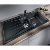 Blanco Sona 6 S 1.5 Bowl Inset Kitchen Sink with Waste and Reversible Drainer 1000mm L x 500mm W - Black