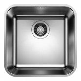 Blanco Supra 400-U 1.0 Bowl Undermount Kitchen Sink with Waste 430mm L x 430mm W - Stainless Steel Brushed