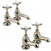 Bristan 1901 Basin Pillar Taps and Bath Pillar Taps with Disc Valves, Gold
