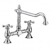 Bristan Colonial Bridge Kitchen Sink Mixer Tap, Dual Handle, Chrome