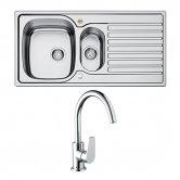 Bristan Inox Easyfit 1.5 Bowl Kitchen Sink with Raspberry Tap 1000mm L x 500mm W Stainless