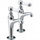 Bristan Renaissance High Neck Kitchen Sink Taps, Pair, Chrome
