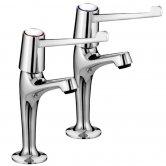 Bristan Value High Neck Kitchen Sink Taps Pair with 6 Inch Lever Handles - Chrome