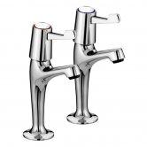 Bristan Value High Neck Kitchen Sink Taps Pair with 3 Inch Lever Handles - Chrome