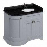 Burlington 100 Curved RH 3-Door Vanity Unit and Black Granite Basin 1000mm 0 Tap Hole - Grey