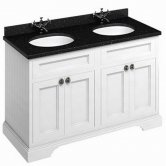 Burlington 130 4-Door Vanity Unit and Black Granite Basin 1300mm Wide Matt White - 0 Tap Hole