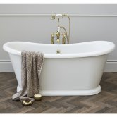 Burlington Admiral Roll Top Freestanding Bath 1640mm x 705mm - Including Surround