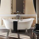 Burlington Bateau Traditional Roll Top Freestanding Slipper Bath 1640mm x 700mm - Excluding Feet