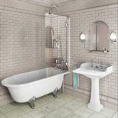 Burlington Hampton RH Freestanding Shower Bath 1500mm x 750mm - Excluding Feet