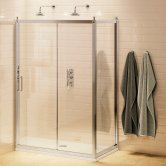 Burlington Traditional Sliding Door Shower Enclosure with Tray 1100mm x 760mm, 8mm Glass