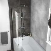 Cali L-Shaped Bath Screen with Flipper Panel 1400mm H x 815mm W - 6mm Glass