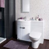 Cali Pebble D Shaped Combination Unit with Left Handed Basin 1100mm Wide - White Polymarble Basin