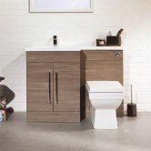 Cali Maze L Shaped Combination Unit with LH Mid Edge Basin - 1090mm Wide - Medium Oak
