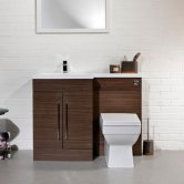 Cali Maze L Shaped Combination Unit with LH Mid Edge Basin - 1090mm Wide - Walnut