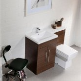 Cali Maze L Shaped Combination Unit with LH Thin Edge Basin - 1090mm Wide - Walnut