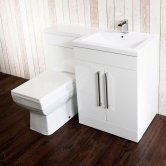 Cali Maze L Shaped Combination Unit with RH Thin Edge Basin - 1090mm Wide - Gloss White
