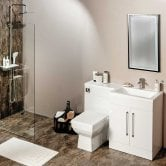 Cali Maze L Shaped Combination Unit with RH Mid Edge Basin - 1090mm Wide - Gloss White