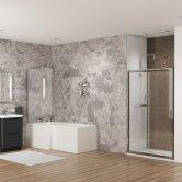 Cali Halle L-Shaped Shower Bath 1500mm x 700mm/850mm Left Handed