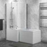 Cali Halle L-Shaped Shower Bath 1500mm x 700mm/850mm with Side Panel and Bath Screen - Left Handed