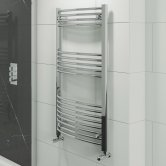 Cali Hayle Curved Heated Towel Rail 1200mm H x 600mm W Chrome