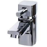 Cali Nero Mini Mono Basin Mixer Tap Deck Mounted with Click Clack Waste - Chrome