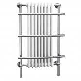 Cali Traditional Wall Hung Heated Radiator Towel Rail - 1000mm High x 630mm Wide - Chrome/White