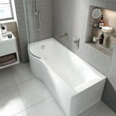 Carron Aspect P-Shaped Shower Bath 1700mm x 700/800mm Left Handed - Carronite