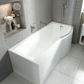 Carron Delta P-Shaped Shower Bath 1700mm x 700/800mm Right Handed 5mm - Acrylic
