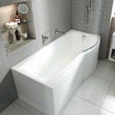 Carron Carronite Delta P-Shaped Shower Bath 1600mm x 700/800mm Right Handed - Acrylic