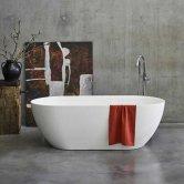 Clearwater Formoso Clear Stone Freestanding Bath 1500mm x 800mm - Matt White
