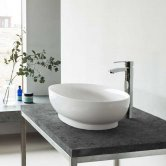 Clearwater Puro Clear Stone Sit-On Countertop Basin 550mm Wide - 0 Tap Hole
